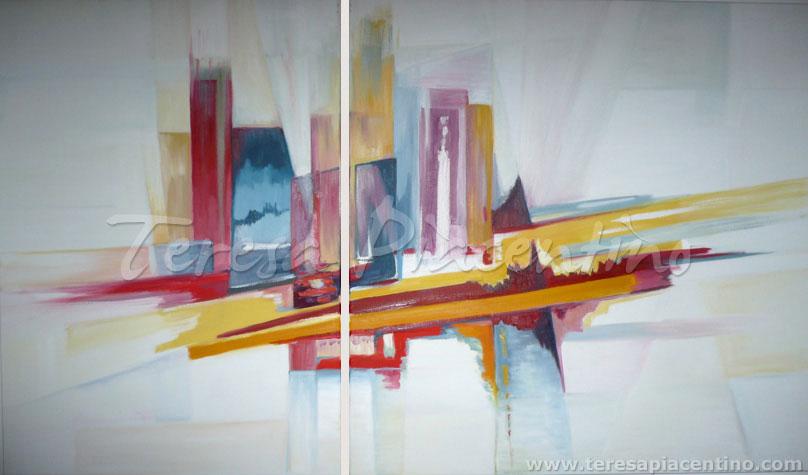 Venta de cuadros modernos 39 serie urbano no 4 dptico - Cuadros decoracion de interiores ...